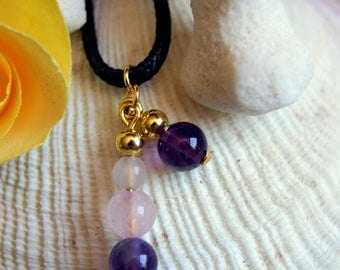 Pendant rose quartz Amethyst gemstone beads