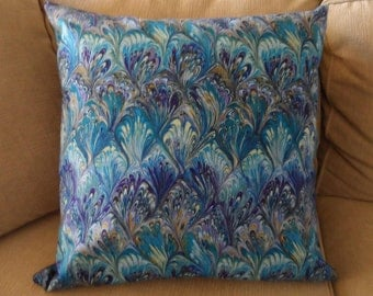 "blue hues batik 18""x18""  pillow cover"