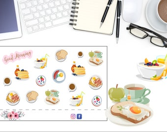 Breakfast Planner Sticker, Brunch Coffee Sticker, Egg Sticker