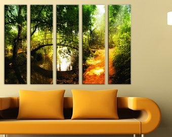 Forest Bridge Wall Art Canvas Print Wall decor Canvas wall art Large Canvas Art Set Home decor home interior River canvas nature