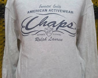 Vintage CHAPS RALPH LAUREN / very nice designed / big logo spell out / Medium size sweatshirt (R036)