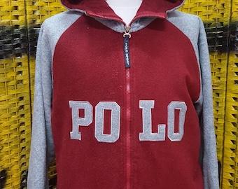 Vintage POLO SPORT / Ralph Lauren / Hoodies / Embroidery logo / full zipper / Large size hoodies (K27)
