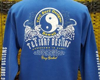 Vintage TOWN and COUNTRY surf designs / Yin and Yang Dragon Tiger / big logo at the back side / Medium size (X280)