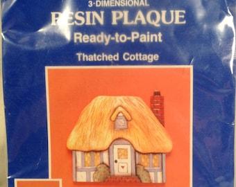 Ready To Paint 3 D Thatched Cottage Plaque Westrim Crafts # 16141