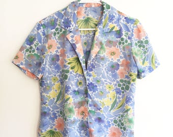 Vintage Watercolor Floral Shirt - Button-up