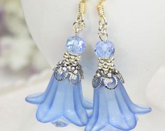 DIY Earrings Kit, DIY Jewelry Kit, Blue Lucite Flower Earrings Kit, Blue Flower Earrings Kit, Blue Earrings Kit, DIY Beading Kit, Craft Kit