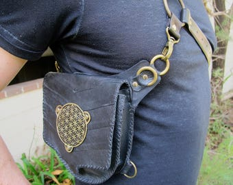 Brass Medallion Convertible Hip Shoulder Bag - Leather Festival Pouch - Pocket Holster
