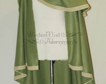 Ready to ship! - Olive green cloak with jute trim