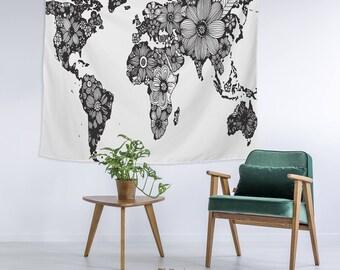 Floral Schwarz Weiss Boho World Globe Karte Wand Kunst College Wohnung Einzigartige Wohnheim Zimmer Dekor Trendige