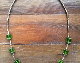 Green Stained Glass Beaded Necklace