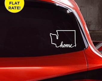 "Washington State ""Home"" (on bottom) Decal - WA Home Car Vinyl Sticker - Add a heart over Seattle, Olympia, Tacoma or Yakima"