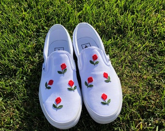 All White Slip On Vans Mini Rose Embroidery Shoes