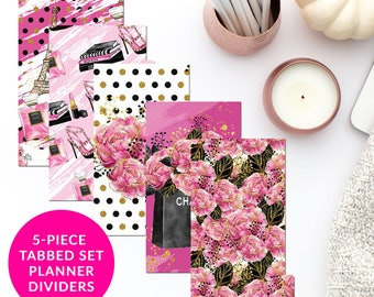 Hot Pink Fashion Chic 5-Piece Tabbed Set of Planner Dividers for Personal A5 Planner Dashboard