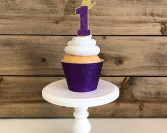 12 First Birthday Toppers, Princess Cupcake Toppers, Prince Party Toppers, One Toppers, Crown Cupcake Toppers, Cupcake Toppers