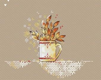 Tradescantia in the cup PDF Cross Stitch Pattern flowers cross stitch pattern bouquet Instant download flowers in the cup chart cross stitch