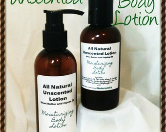 Unscented Moisturizing Lotion | Natural body Lotion | 4 OZ Squeeze or 8 OZ Pump Bottle | Shea Butter | Everyday lotion | Moisturizing