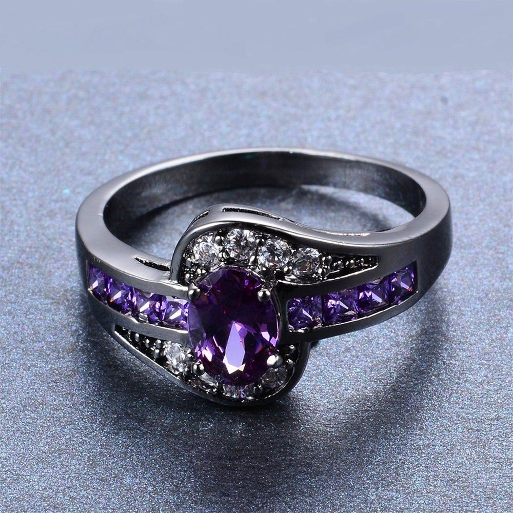 bague femme voilette bague noire et parme anneau noir anneau. Black Bedroom Furniture Sets. Home Design Ideas