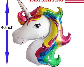 Unicorn Large Rainbow Foil Helium Balloon Children Birthday Party Decoration New