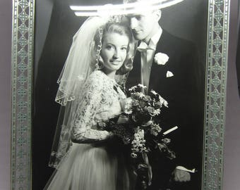 Vintage Swedish photo frame from the 1950s Retro wedding picture Bride Groom photo Sweden Scandinavian 1960s