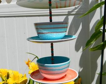 Fun Beach bird feeder your birds will love, double bowl bird feeder, Love the orange and teal together