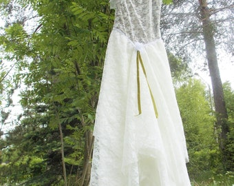 Long White/Green Lace Dress made of Recycled Materials, Suitable to be a Wedding Dress, Fantasy Spirited Dress for Forest Maiden <3