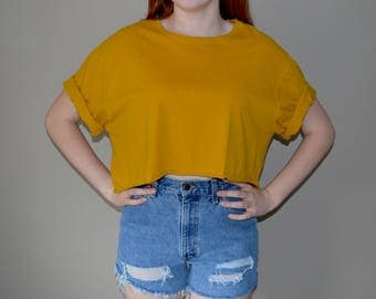 Mustard Yellow Cropped T-Shirt