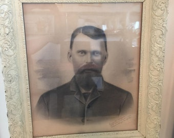 Antique Vintage Picture With Frame