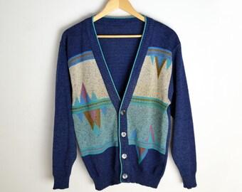 Knitted cardigan M L 90s cardigan Vintage sweater Vintage jumper Vintage sweater Vintage cardigan Geometric Print 90s Geometric pattern