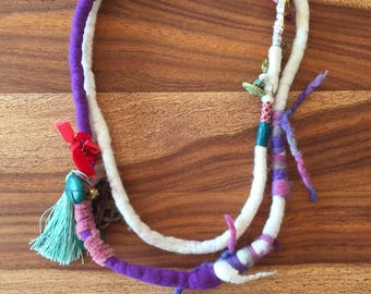 Steph's, necklace, statement, ethno, boho, white felted wool, purple,