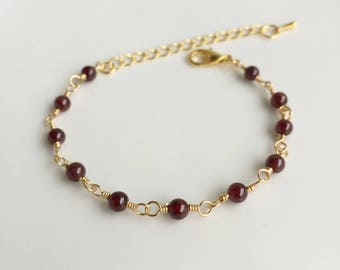 Garnet Bracelet, Gold Bracelet, Gemstone Bracelet, January Birthstone