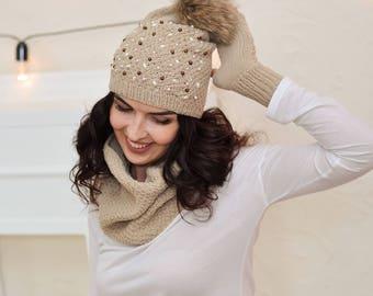 Warm hat Fur pom pom hat Slouchy beanie Knit hat womens Pom pom hat Winter beanie Beige hat Hand knit hat Knitted hat beanie Embroidered hat