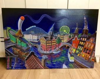 Gicleeprint Amsterdamusementpark-hand embellished