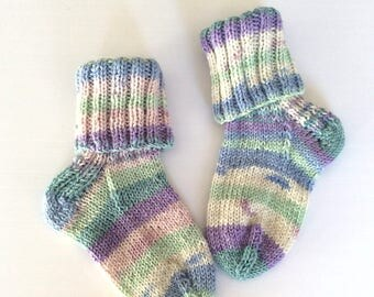 Hand knitted pastel baby socks for boy or girl, random stiped socks, unique, baby shower gift, immediate shipping, approx size 3 shoe