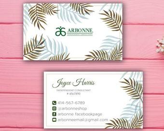 Arbonne Business Cards, Custom Arbonne Business Card, Green Floral Argonne Business Card, Custom Business Card, Printable Business Card AB53