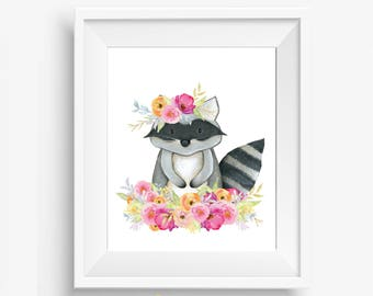 Girl Woodland Nursery, Woodland Nursery, Woodland Nursery Decor, Woodland Animals, Floral Woodland Nursery, Girl Woodland Decor, Raccoon Dec