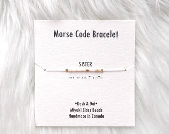 24K Gold Bead Morse Code Bracelet- Sister, Morse Code Jewellery, Secret Message Jewelry, Adjustable Bracelet, Delicate, Dainty, Gift for Her