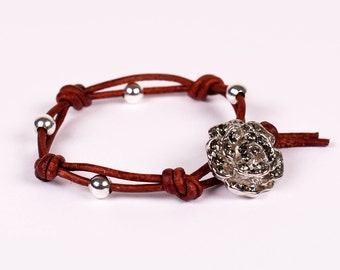 Sterling Silver Beaded & Leather Bracelet