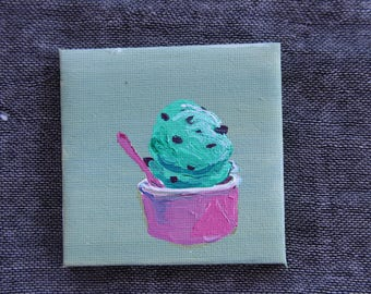 Mint Chocolate Chip Ice Cream - Mini Painting