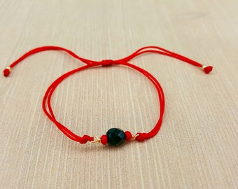Jet bracelet, Azabache, red string, adjustable, braided, Kabbalah, good luck, protection, black stone
