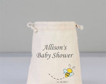 Personalized Baby Shower Pouch with Honey Bee, Baby Shower Decorations, Baby Shower Party, Cotton Boy Baby Shower, Cotton Bag Drawstring