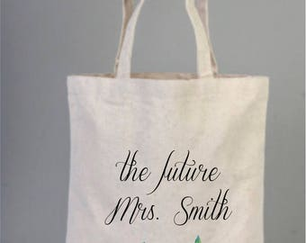 Bridal Bags, Wedding Bags, Personalized Bridal Gifts, Bridesmaid Gifts, Canvas Bridal Bag, Cotton,  Tote Bag, Wreath Bag, Watercolor Roses