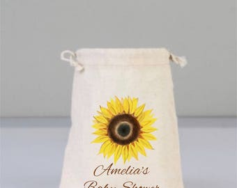 Personalized Baby Shower Bag with Sunflower, Sunflower Baby Shower, Baby Shower Party, Baby Favor Bags, Cotton Bag Drawstring