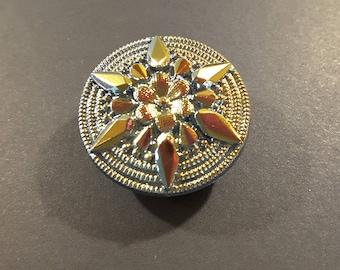Czech glass mirrored irrededesent button.