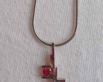 Synthetic Ruby, Sapphire and Sterling Silver Necklace ~ Estate Jewelry