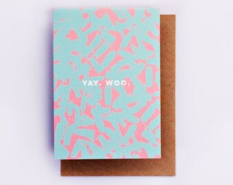 Yay Woo Card, Illustration, Fashion Stationery, Fashion Card, Cool Card, Congratulations Card, Encouragement Card, Fashion Gift, Pink