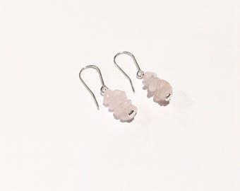 Sterling silver filled rose quartz gemstone chip drop earrings