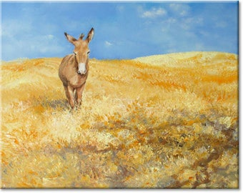 Donkey... landscape animal original painting, nature art | wedding birthday present | ready to hang 'home sweet home' or as a welcome gift