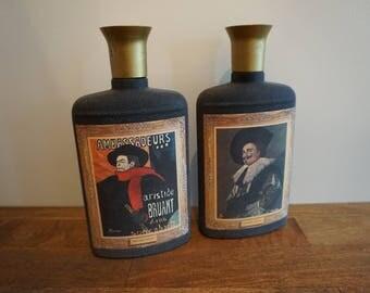 Vintage Jim Beam Whisky Decanter Bottles (Set of 2( Laughing Cavalier Aristide Bruant