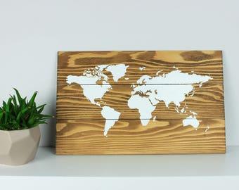 World Map on Wood, Rustic Wall Decor, Rustic World Map, Map on Reclaimed Wood, World Map, Wooden World Map, Wooden wall decor, Handmade item