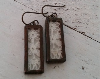 Vintage New Orleans Lace in Copper Earrings